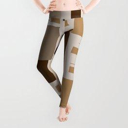 Shades Of Brown Squares Leggings