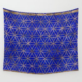 Flower of life pattern - Lapis Lazuli and Gold Wall Tapestry