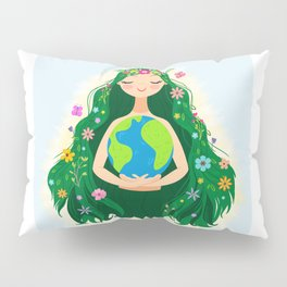 Beautiful Flowing Flower Earth Mother Figure Pillow Sham