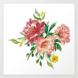 Watercolor of Flower Bouquet Art Print