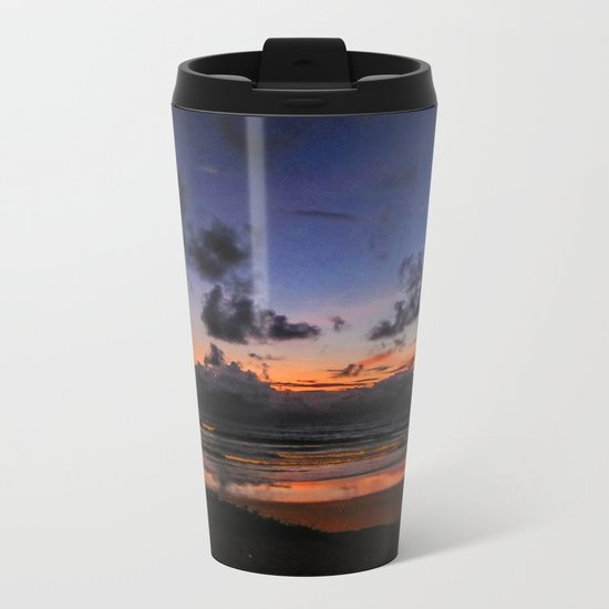 Beach Sunset - Painted Effect Metal Travel Mug