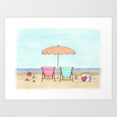 Beach Chairs Art Print