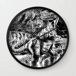 T-Rex Pen and Ink Wall Clock