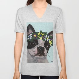 Boston Terrier Art, Cute Boston Terrier Unisex V-Neck