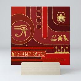 Egyptian Geometric Art Deco Red and Gold Mini Art Print