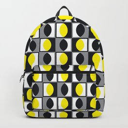 Geometric Pattern 216 (yellow gray curves) Backpack