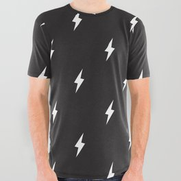 Lightning Bolt Pattern Black & White All Over Graphic Tee