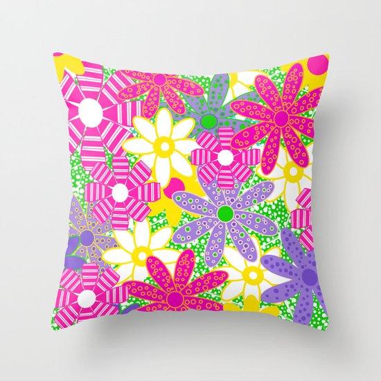 Frolicking Flowers Throw Pillow
