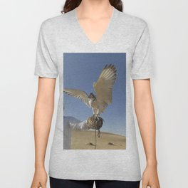 Falconer With Hooded Falcon In The Desert Unisex V-Neck