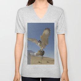 Falconer With Hooded Falcon In The Desert Unisex V-Neck