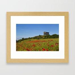 Penshaw Monument Poppys Framed Art Print