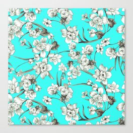 Modern teal brown white abstract floral Canvas Print