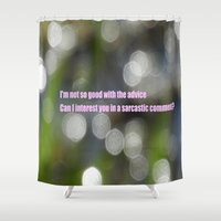 sarcasm Shower Curtains featuring Bokeh Sarcasm by Casey J. Newman
