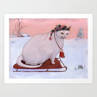 snowflake Art Prints featuring Snowflake by Noel ILL Art