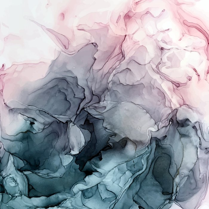 Blush and Payne's Grey Flowing Abstract Painting Bettbezug