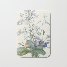 Vintage Botanical - A Bouquet of Flowers with Insects Bath Mat