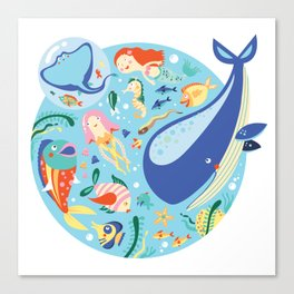 Under The Sea with a Mermaid Canvas Print
