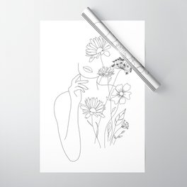 Minimal Line Art Woman with Flowers III Wrapping Paper