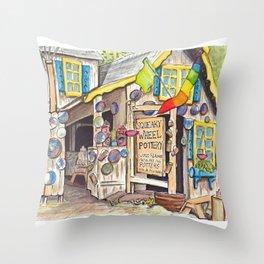 Squeaky Wheel Pottery Throw Pillow
