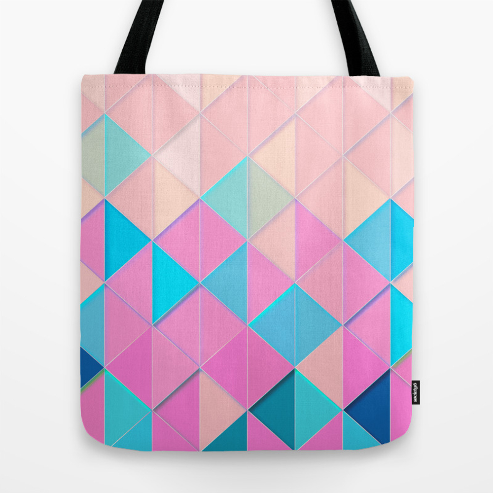 Blue Purple Pink Geometric Retro Tote Purse by Highdesign (TBG9800715) photo