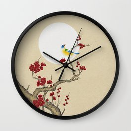 Plum blossoms, bird and the moon Type E (Minhwa: Korean traditional/folk art) Wall Clock