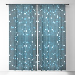 Cyan Blue Sparkly Bokeh Sheer Curtain