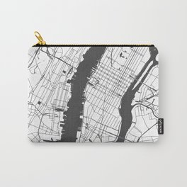 New York City White on Gray Street Map Carry-All Pouch