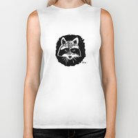 racoon Biker Tanks featuring Racoon by leart