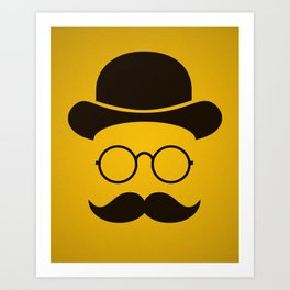 Funny / Minimal vintage face with Moustache & Glasses Art Print