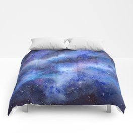 Starry Blue Galaxy Watercolor Comforters