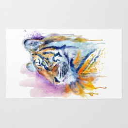Young Tiger Watercolor Portrait Rug