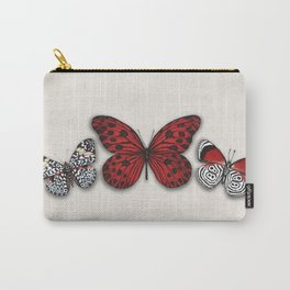 Red butterfly. Black and white papilon Carry-All Pouch