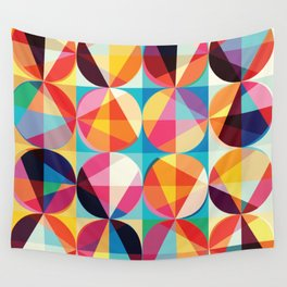 Beautiful colors Geometry, geometric abstract triangles circles squares Wall Tapestry