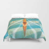 rowing Duvet Covers featuring The Serenity of Sculling by Rabassa