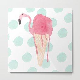 Flamingo icecream Metal Print