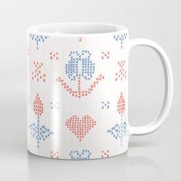 Hand Drawn Embroider Tulip Stitches Seamless Vector Pattern Cross Stitch Coffee Mug