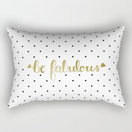 Be Fabulous Gold Polka Dots Rectangular Pillow