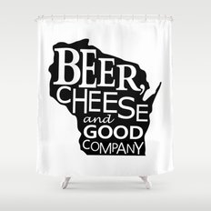 Black and White Beer, Cheese and Good Company Wisconsin Graphic Shower Curtain