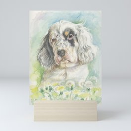 ENGLISH SETTER PUPPY Cute dog portrait on the dandelions meadow Mini Art Print