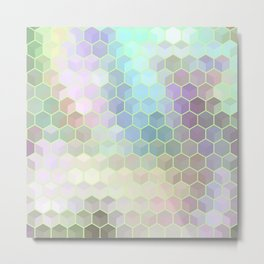 Hexagon Cube Tiles 218 Metal Print
