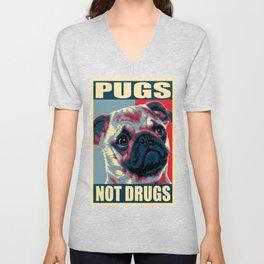 Pugs Not Drugs Funny Propaganda Unisex V-Neck
