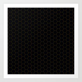 Black with fine line gold hexagon pattern Art Print