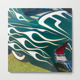 Classic Car Aflame with Flame Striping Metal Print