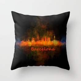 Barcelona City Skyline Hq _v4 Throw Pillow