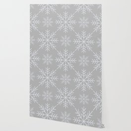 Snowflakes on Gray Wallpaper