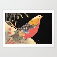 Golden Pheasant in the Snow Itô Jakuchû oriental bird art  Art Print