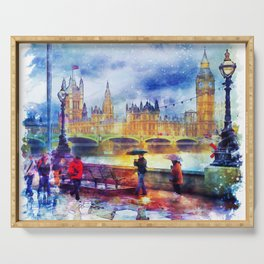 London Rain watercolor Serving Tray