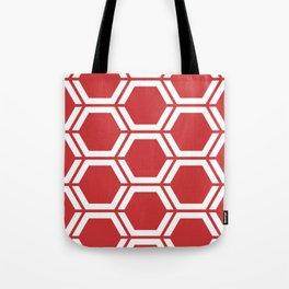 Madder Lake - red - Geometric Polygon Pattern Tote Bag