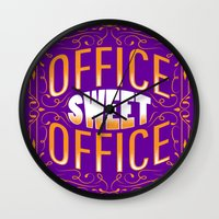 office Wall Clocks featuring Office Sweet Office by Roberlan Borges