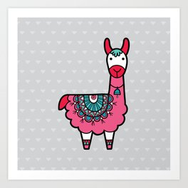 Doodle Llama on Grey Triangle Background Art Print